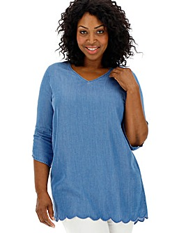 V-Neck Slit Sleeve Tencel Denim Tunic