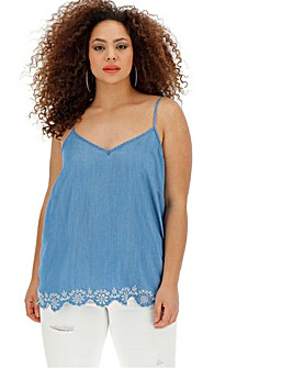 Mid Blue Embroidered Hem Tencel Cami Top