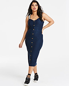 Jersey Denim Button Front Midi Dress