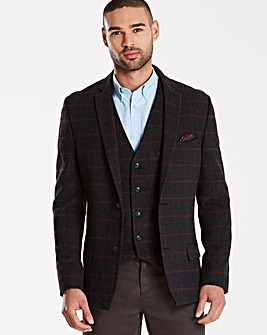 Jacamo Black Label Checked Wool Blazer R