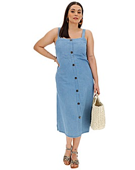 Button Front Denim Strappy Midi Dress