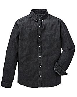 Label J Raw Hem Long Sleeve Denim Shirt Long