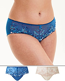 2 Pack Chrissie Blue/Ivory Midi Brief