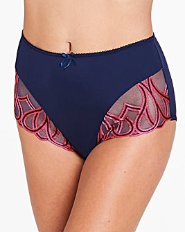 Amelie Embroidered Navy/Pink Briefs