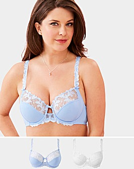 2Pack Flora Full Cup Blue/White Bras