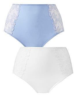 2 Pack Flora Blue/ White Full Fit Briefs