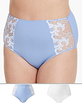 2 Pack Flora Blue/ White Full Fit Briefs