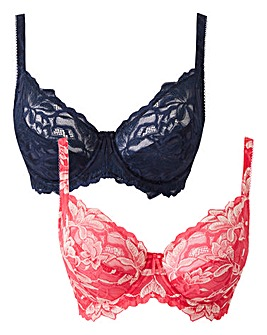 2 Pack Lily Navy/Pink Full Cup Bras