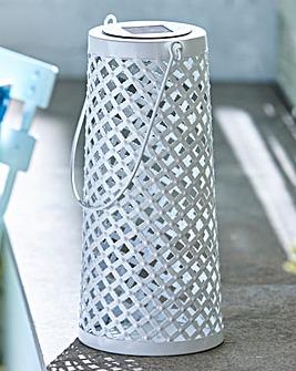 Solar White Metal Lantern
