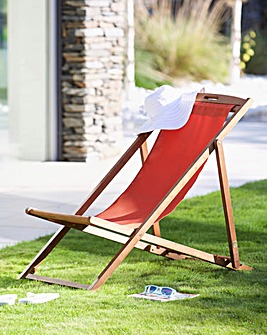 Riva Wooden deck chair Red