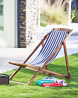 Riva Wooden deck chair Navy Stripe