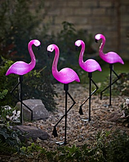 Set 4 Flamingo Solar Stake Lights