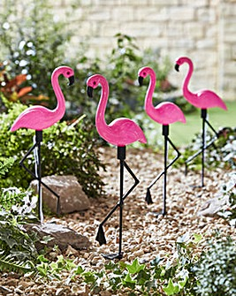 Set of 4 Solar Flamingo Stake Lights