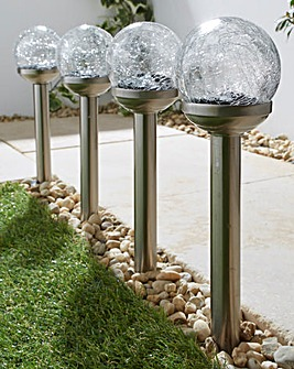 Set of 4 Solar Colour Changing Globe Stake Light