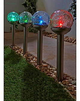 Set of 4 Ball Colour Change Solar Lights