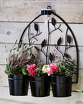 Triple Pot Wall Planter with Solar Light
