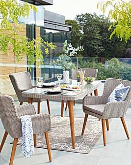 Milano Rattan 4 Seat Dining Set