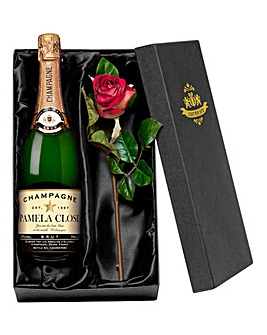 Personalised Champagne & Rose in Box