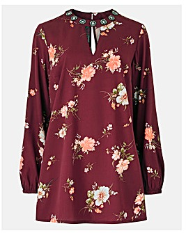 Wine Print Embellished High Neck Tunic
