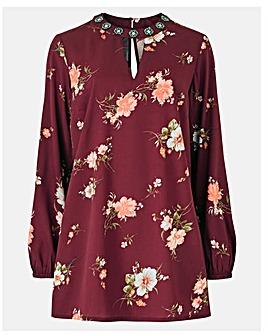 Wine Print Embellished High Neck Tunic