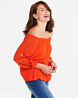 Orange Split Sleeve Crinkle Blouse