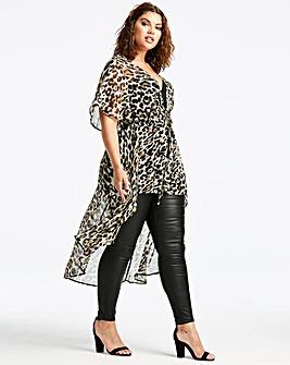Leopard Print Tie Front Kimono