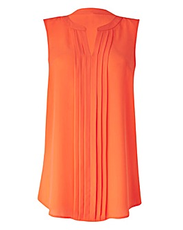 Sleeveless Pleat Detail Blouse