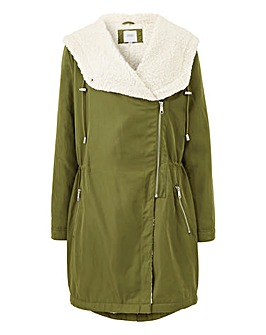 Shearling Lined Waterfall Parka