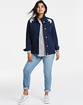 Navy Embroidered Stretch Utility Jacket
