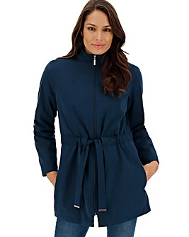 Navy Soft Touch Belted Microfibre Jacket