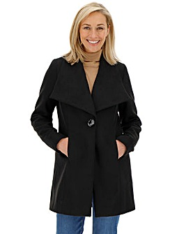 Black Wool Look Large Collar Coat