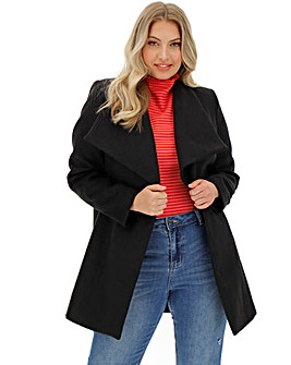 Black Large Collar Coat with Detail Button