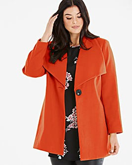 Paprika Wool Look Large Collar Coat