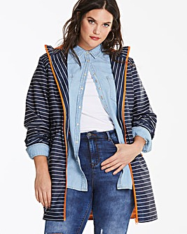 Navy Stripe Contrast Parka with Adjustable Waist