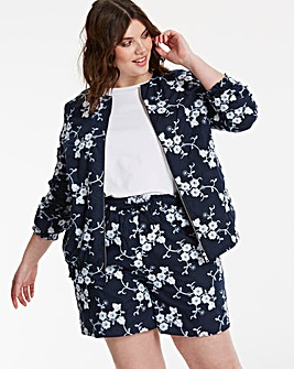 Collarless Applique Jacket