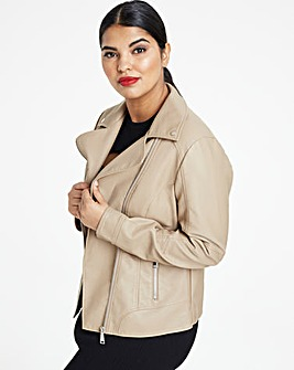 Camel Faux Leather Biker Jacket