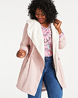 Soft Pink Faux Shearling Lined Parka