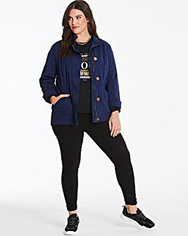 Navy Stretch Cotton Utility Jacket