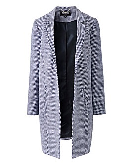 Navy/White Textured Wool Look Coat