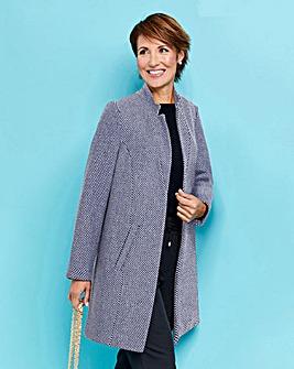 Navy/White Textured Wool Look Coat