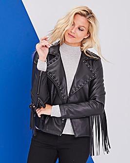 Black Fringe Faux Leather Biker Jacket