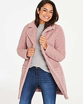 Dusty Pink Teddy Faux Fur Coat