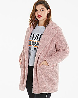 Dusty Pink Teddy Fur Coat