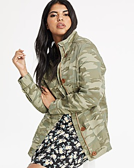 Camo Stretch Cotton Utility Jacket