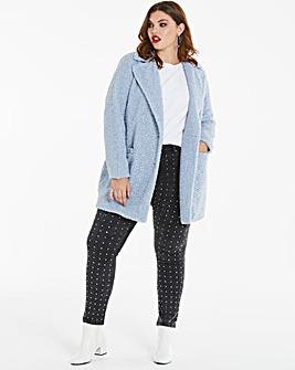Pale Blue Teddy Faux Fur Coat