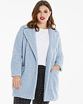 Pale Blue Teddy Faux Fur Coat
