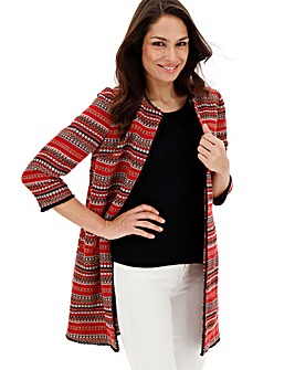 Red Jacquard Edge to Edge Jacket