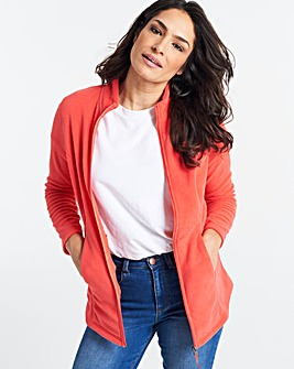 Coral Contrast Zip Fleece Jacket