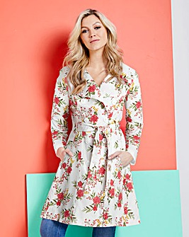 Printed Fit and Flare Trench Coat