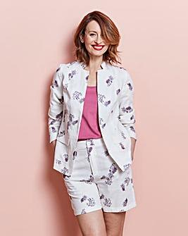 Cream Printed Linen Blazer